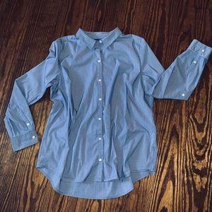Apt. 9 blue pinstriped button down dress shirt